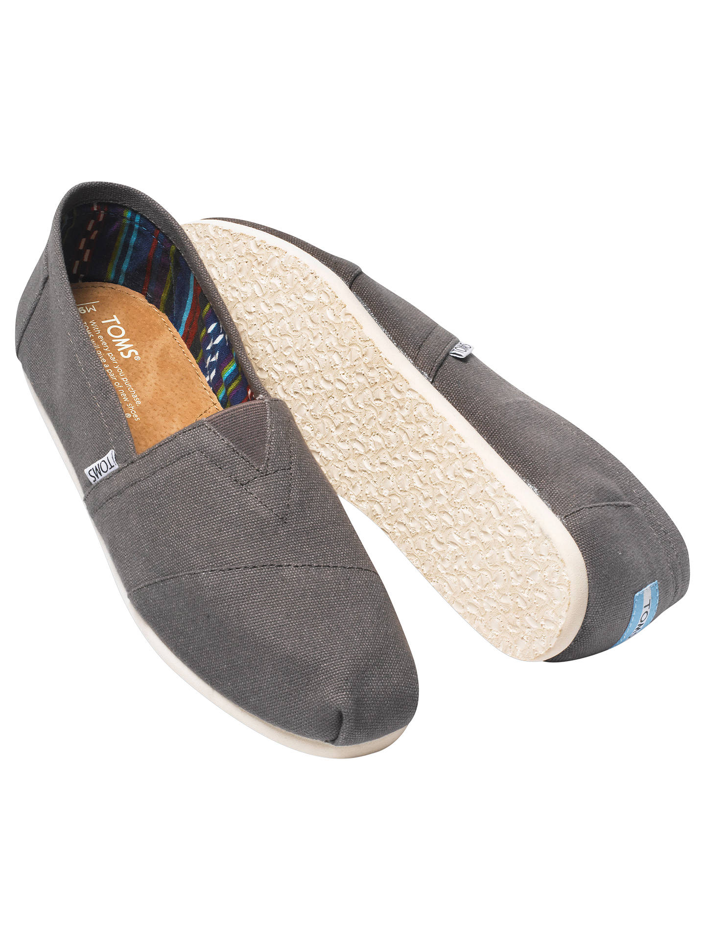 BuyTOMS Classic Canvas Espadrilles, Ash, 7 Online at johnlewis.com