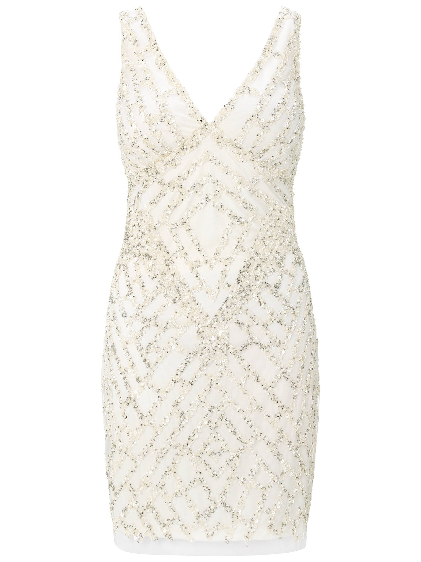 e6a8b70c Buy Aidan Mattox Beaded V-Neck Cocktail Dress, Ivory, 6 Online at johnlewis  ...