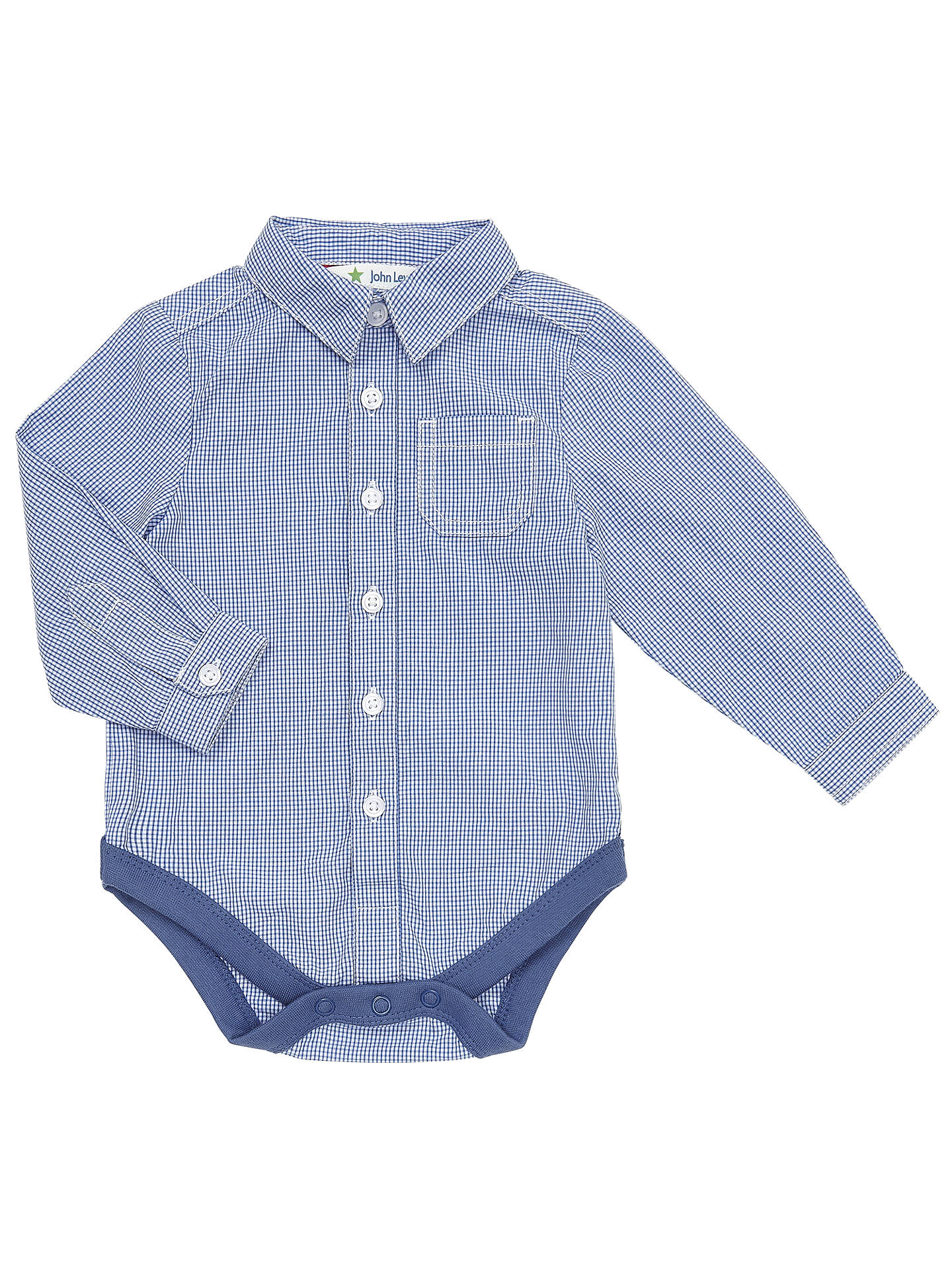 John Lewis Babys Check Shirt Bodysuit Bluewhite At John Lewis