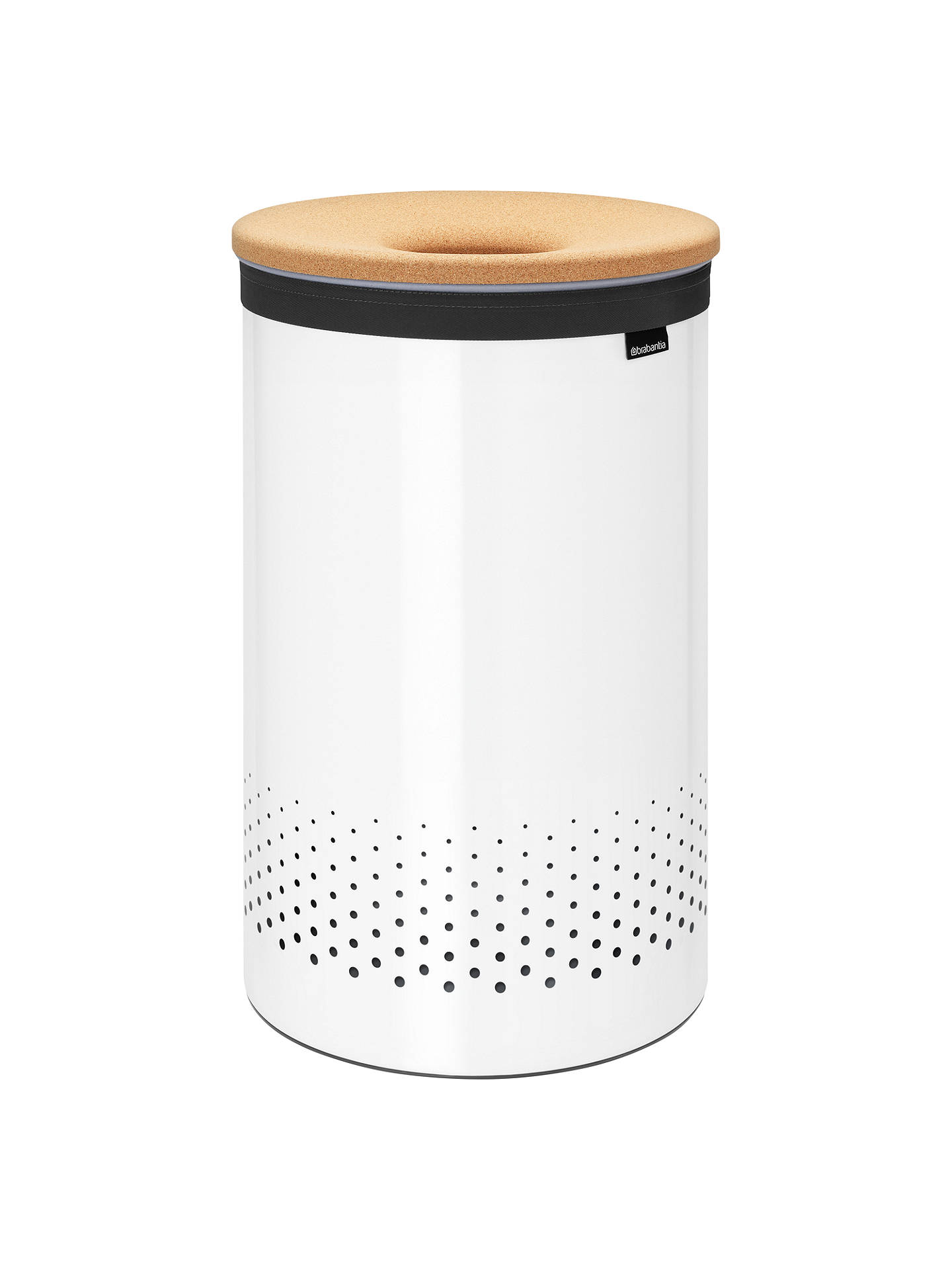 BuyBrabantia Cork Lid Laundry Bin, White, 60L Online at johnlewis.com