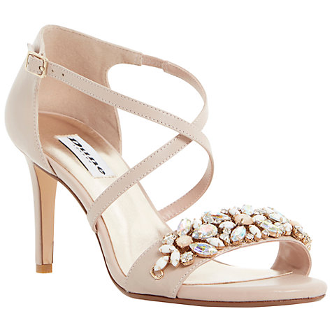 Buy Dune Mollee Strappy Heeled Gem Strap Leather Sandals, Blush Online at johnlewis.com