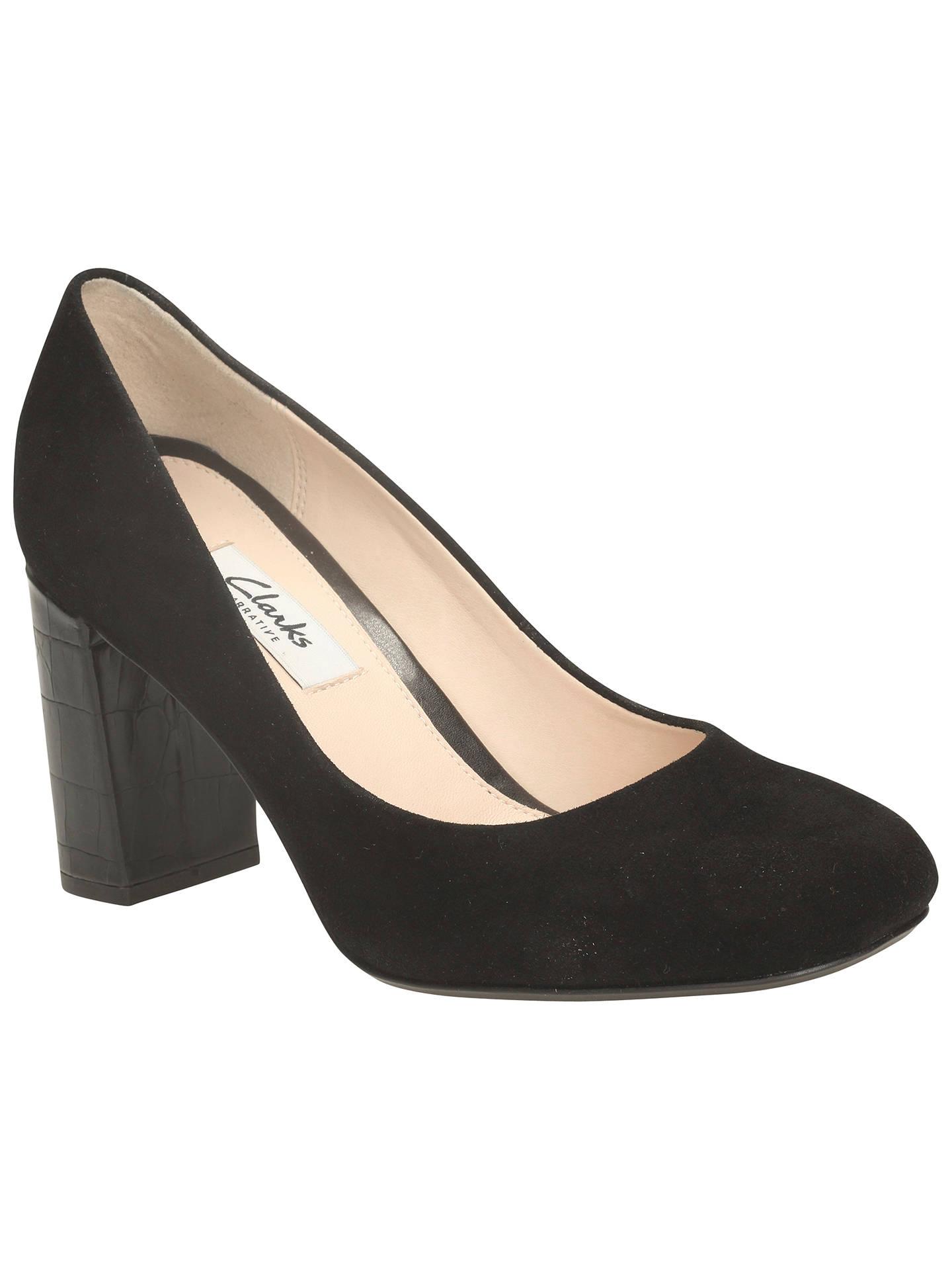 4649e22f Clarks Gabriel Mist Block Heel Court Shoes, Black Suede at John ...