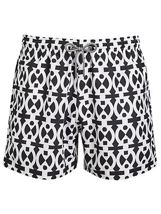 Buy Okun Ali Adinkra Swim Shorts, Black/White, M Online at johnlewis.com