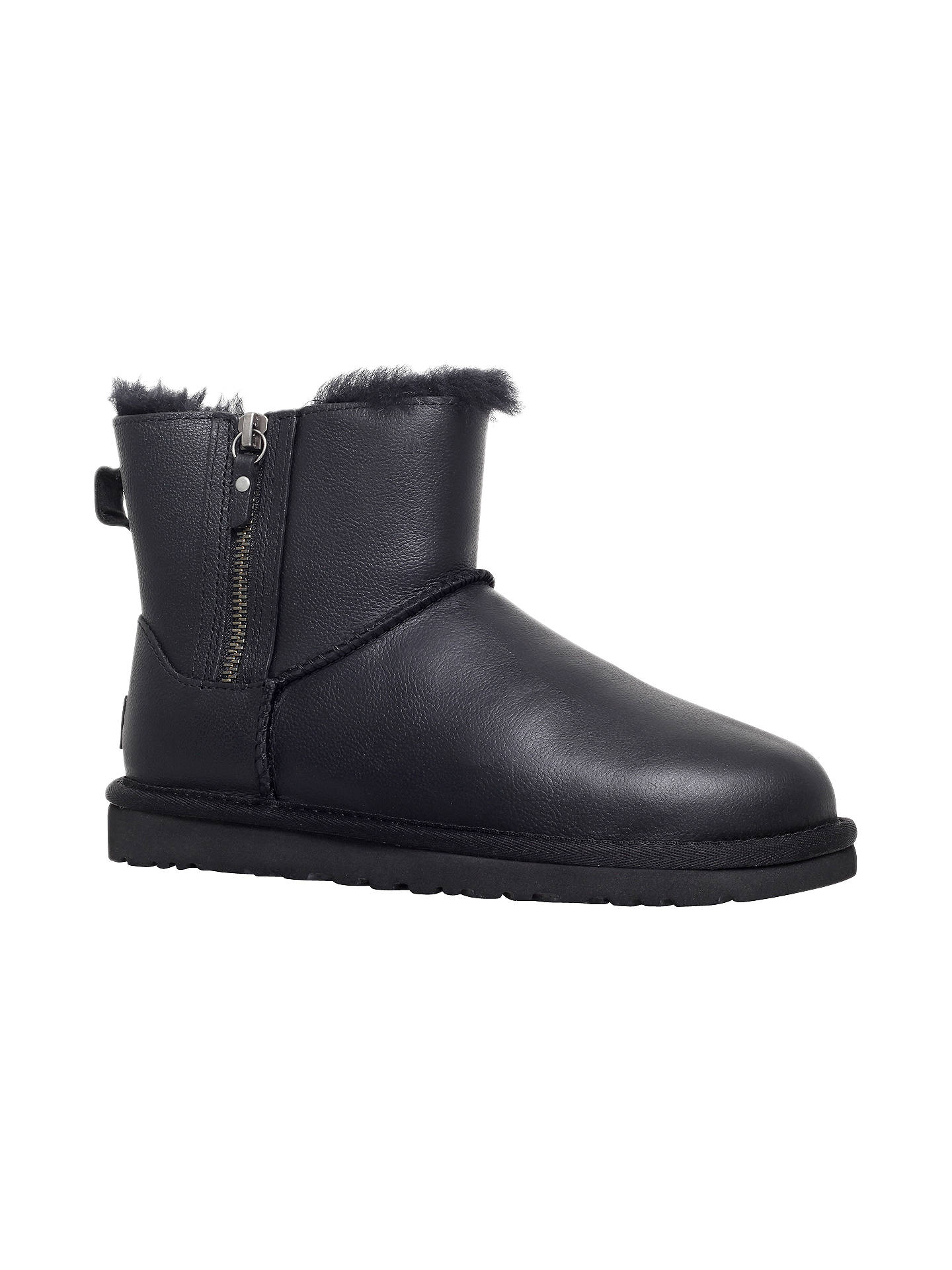 2b6c1601c78 UGG Classic Leather Mini Double Zip Ankle Boots, Black at John Lewis ...
