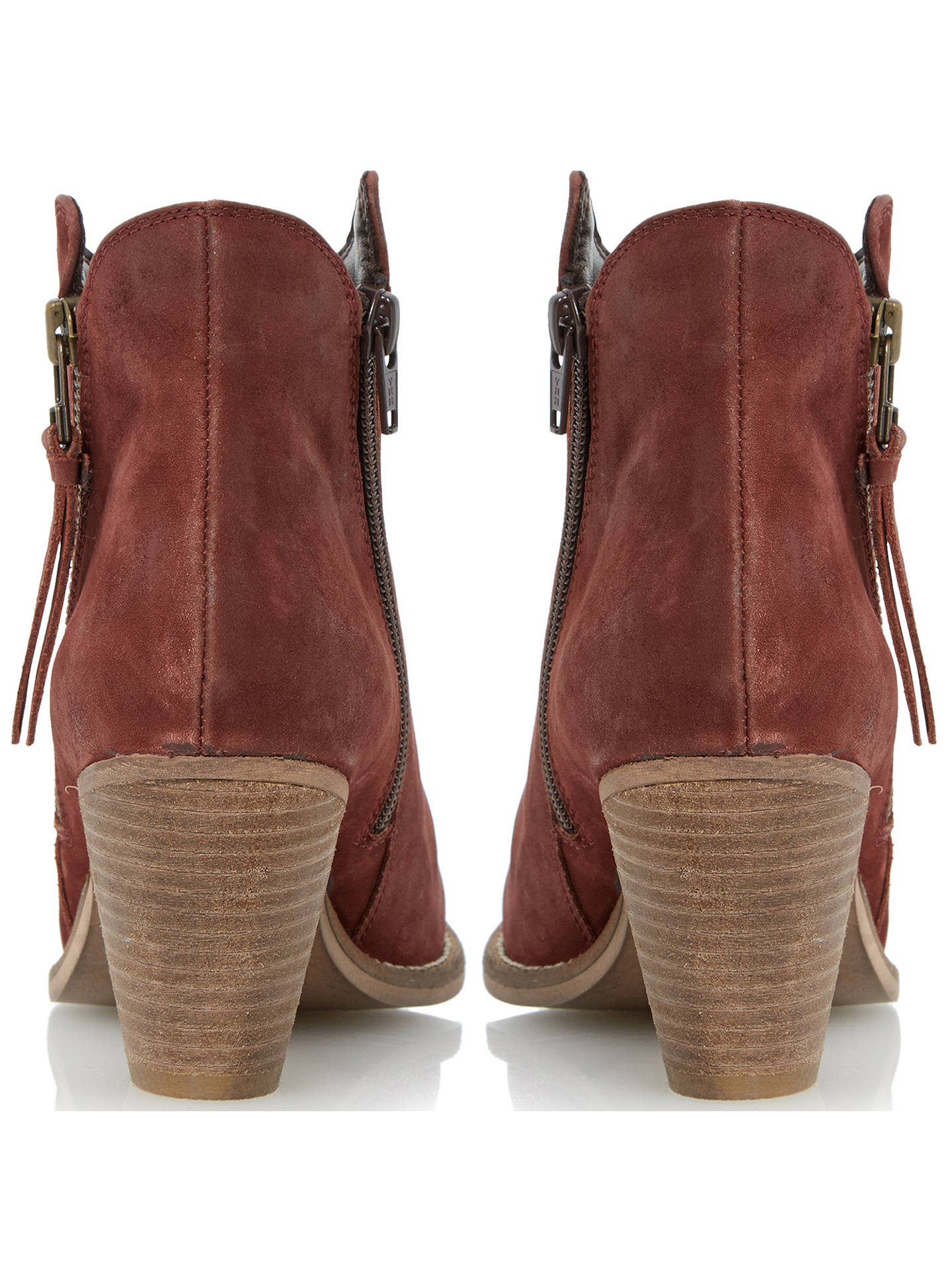 cdc5c97a71f Dune Pollie Nubuck Western Style Mid Heel Ankle Boots, Burgundy at ...