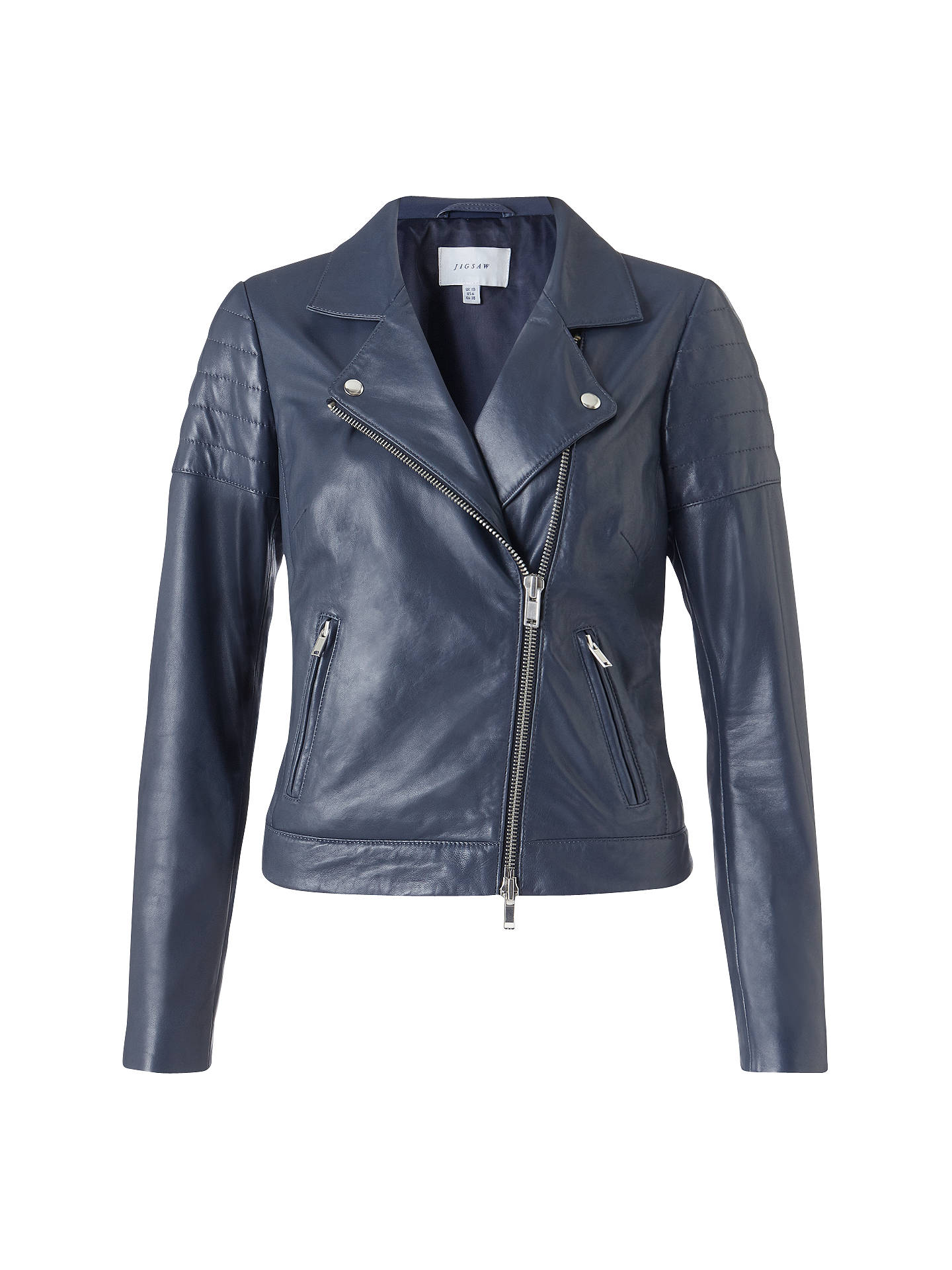 Jigsaw Quilted Sleeve Leather Biker Jacket Navy At John Lewis