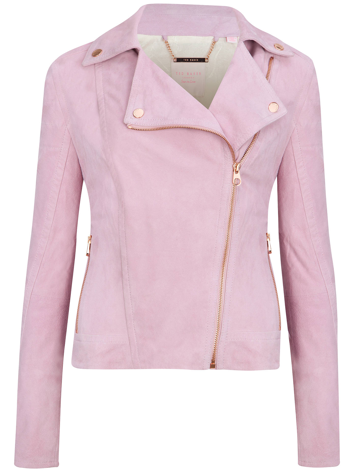 new high quality exceptional range of colors Sales promotion Ted Baker Suede Biker Jacket, Pale Pink at John Lewis & Partners