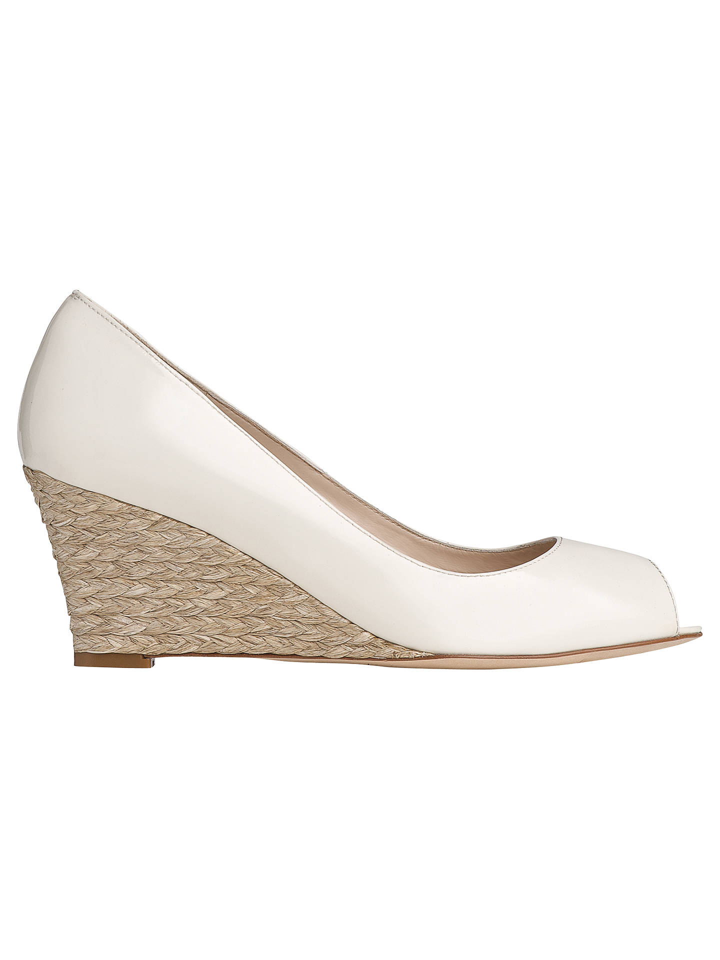 58072f4f40 Buy L.K. Bennett Zelita Patent Leather Peep Toe Wedges, Ivory, 2 Online at  johnlewis ...