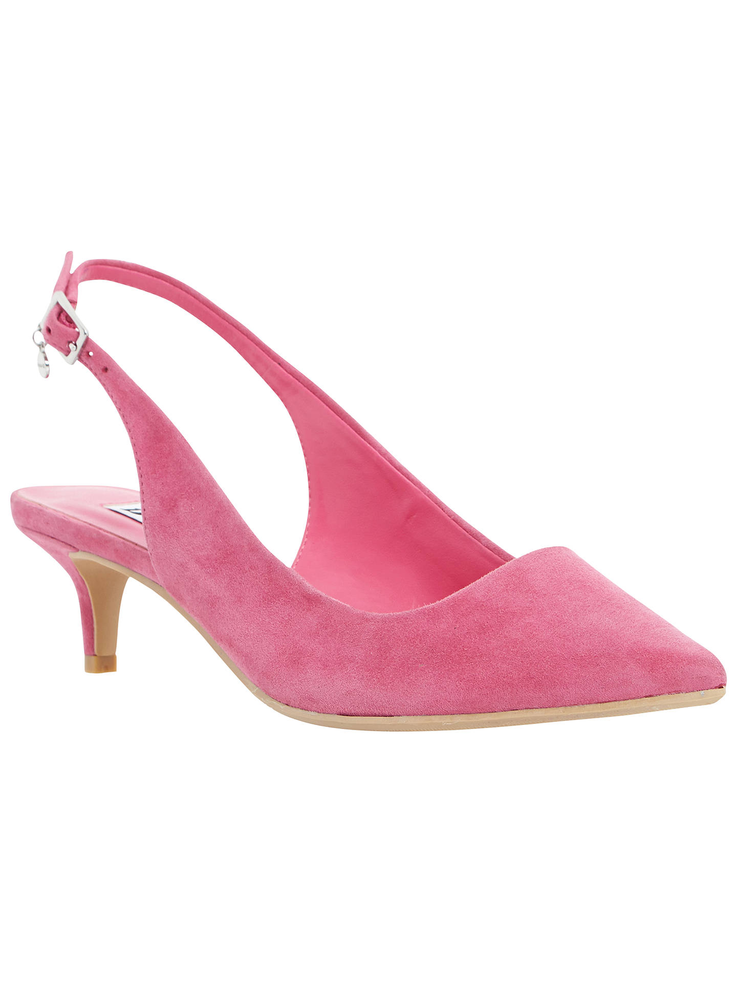 629aace5192 Dune Cathryn Slingback Kitten Heel Court Shoes, Pink Suede at John ...