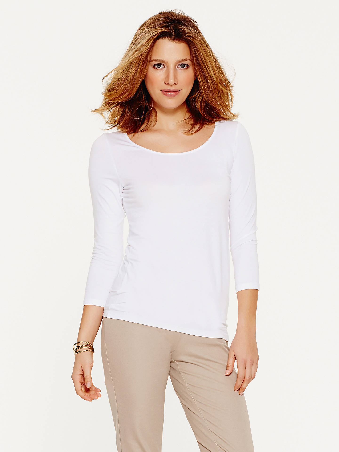BuyPure Collection Soft Jersey Scoop Neck Top, White, 8 Online at johnlewis.com