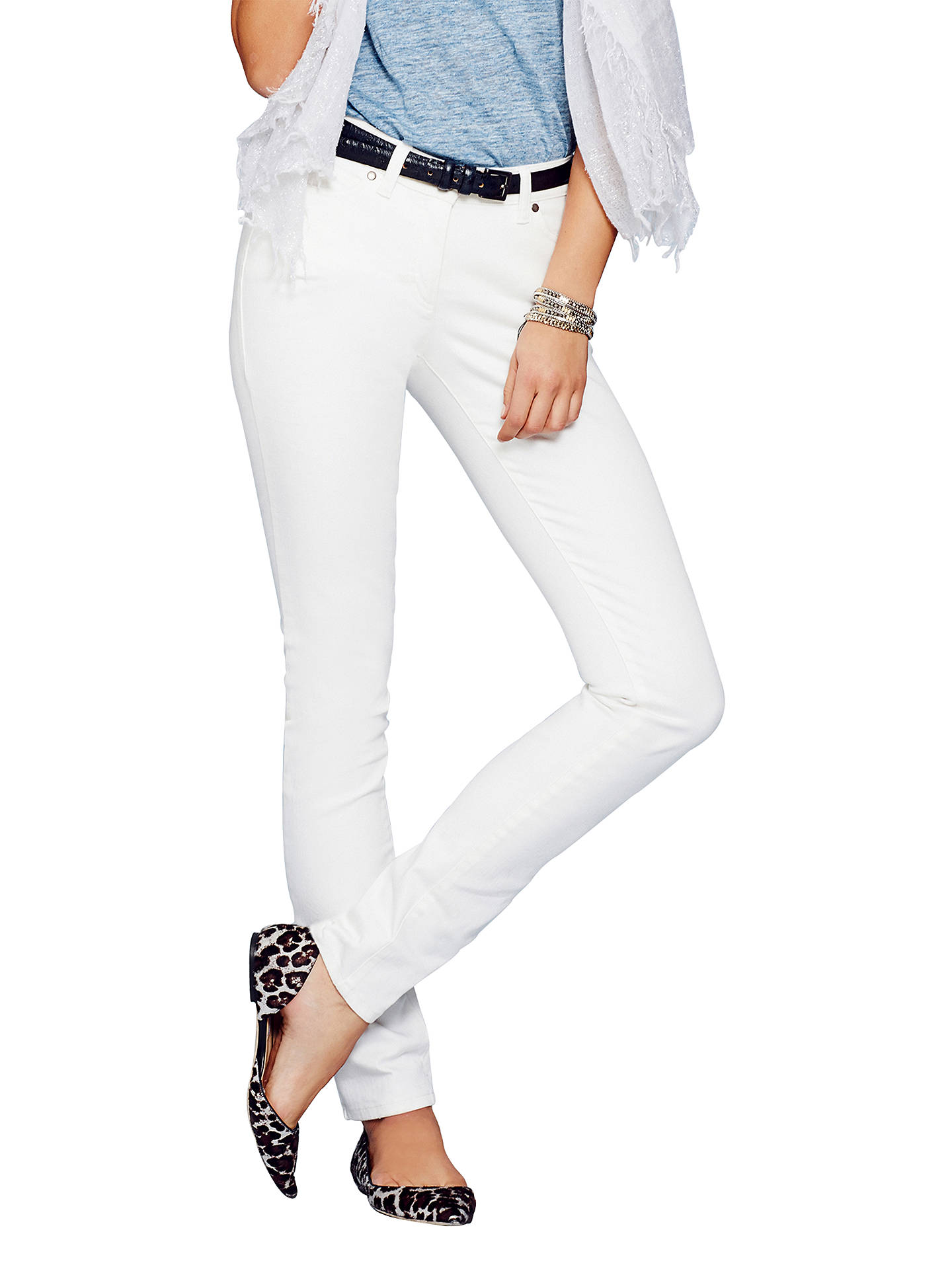 Buy Pure Collection Slim Leg Jeans, White, 8R Online at johnlewis.com