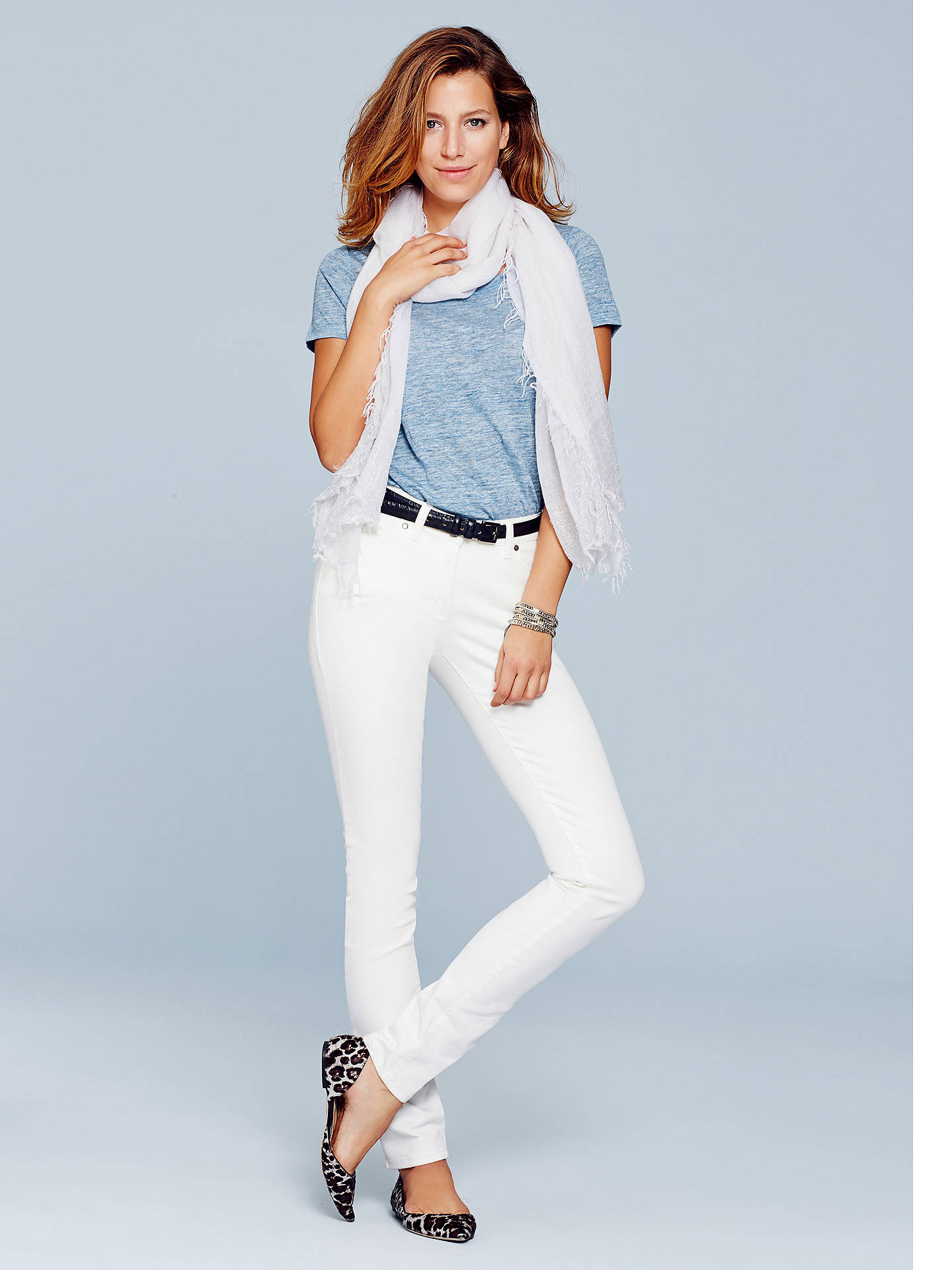 Buy Pure Collection Slim Leg Jeans, White, 12R Online at johnlewis.com
