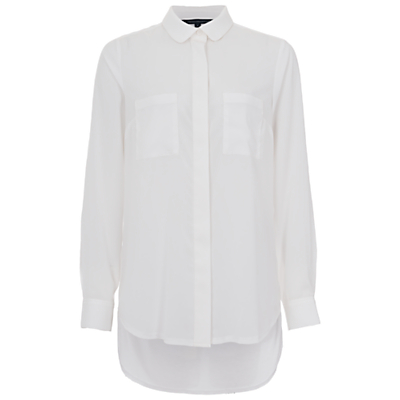 Image of French Connection Polly Plains Pocket Detail Shirt, Summer White