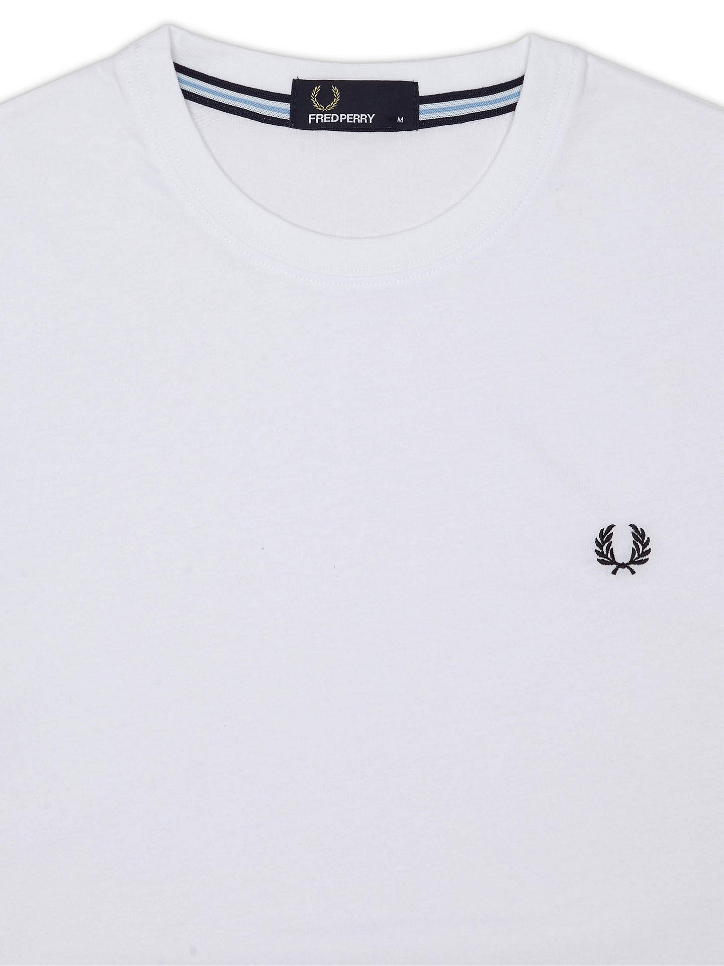 950d98e25562 ... Buy Fred Perry Crew Neck Cotton T-Shirt, White, S Online at johnlewis