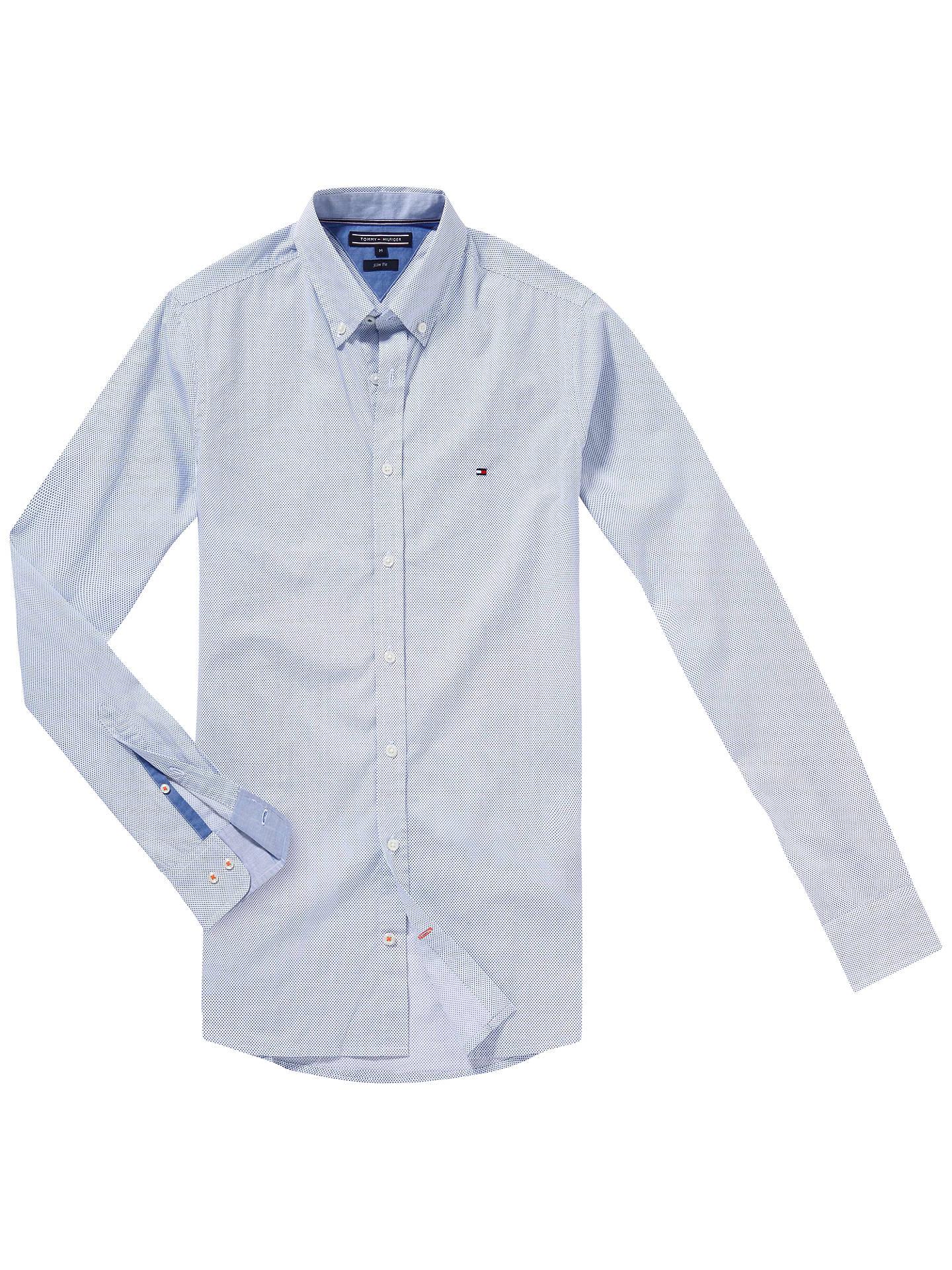1590727a79e Buy Tommy Hilfiger Square Print Slim Fit Shirt, Classic White/Monaco Blue, M