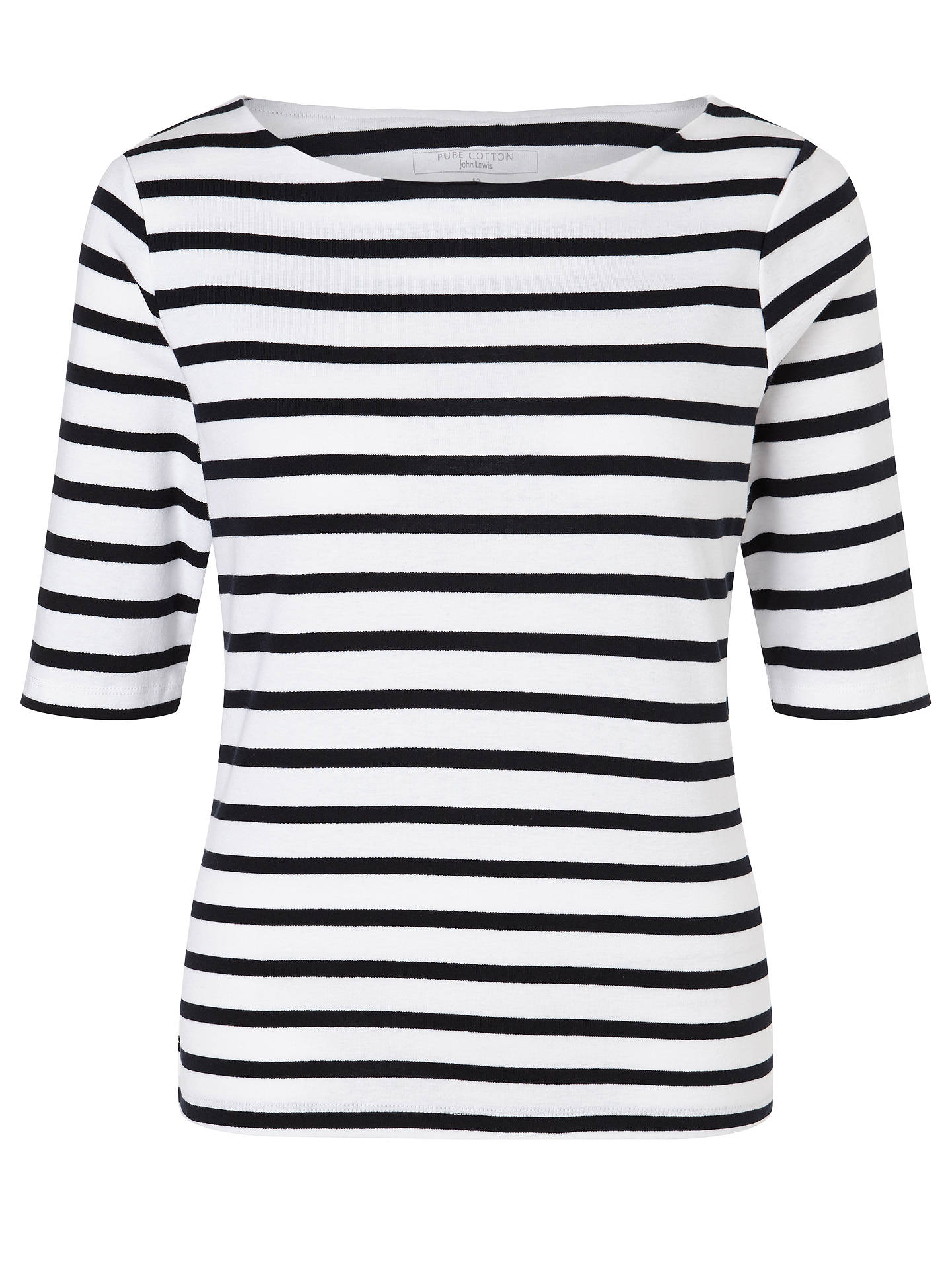 BuyJohn Lewis & Partners Half-Sleeve Breton Stripe Top, White/Navy, 8 Online at johnlewis.com