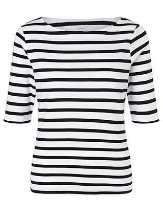 Buy John Lewis & Partners Half-Sleeve Breton Stripe Top, White/Navy, 8 Online at johnlewis.com