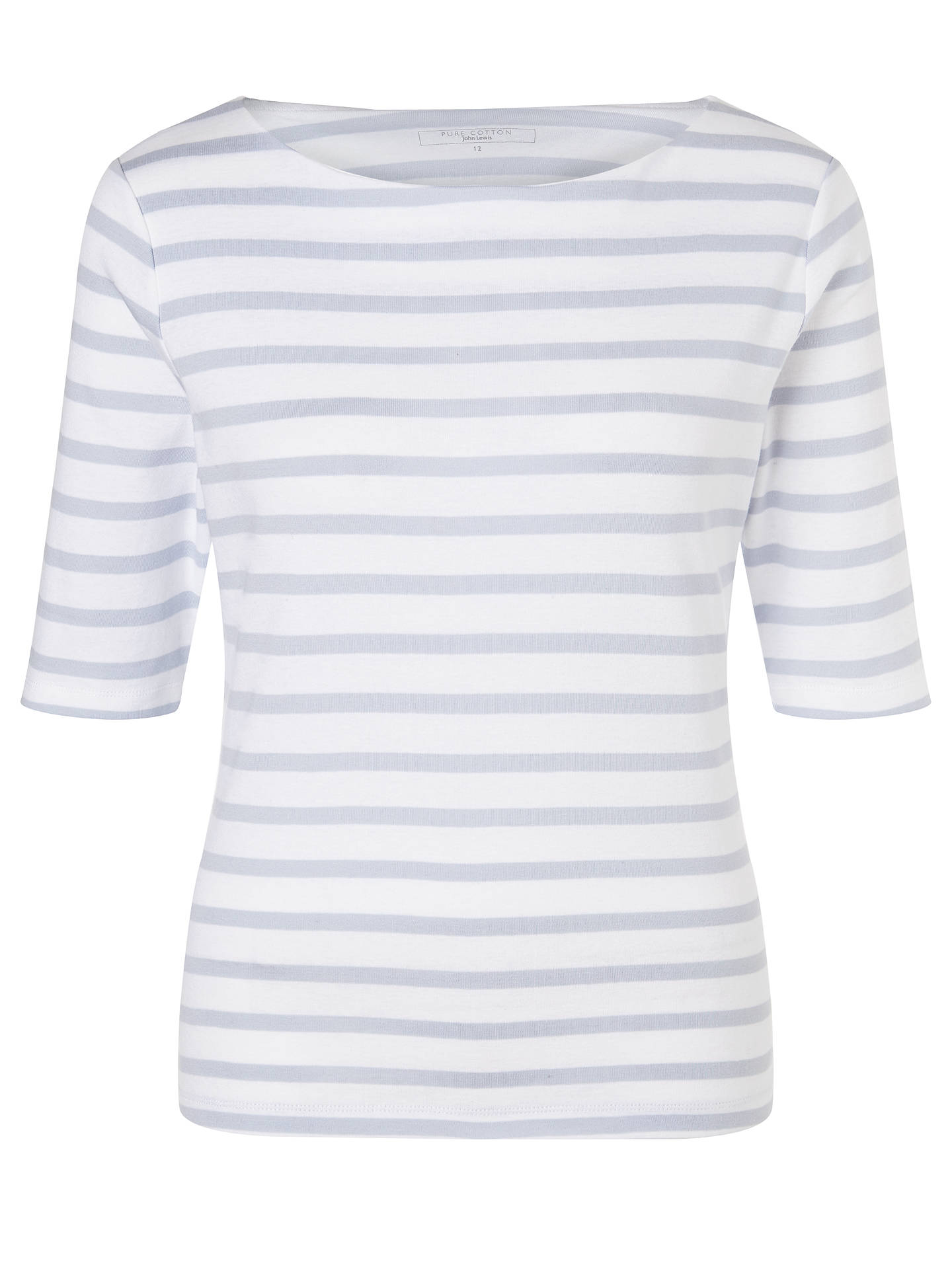 Buy John Lewis & Partners Half-Sleeve Breton Stripe Top, Pale Blue/White, 16 Online at johnlewis.com
