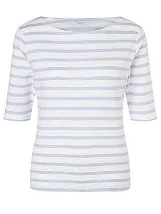 Buy John Lewis & Partners Half-Sleeve Breton Stripe Top, Pale Blue/White, 8 Online at johnlewis.com