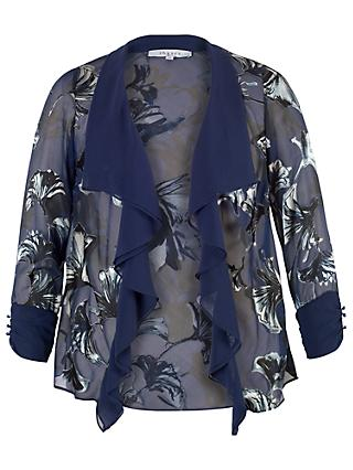 Chesca Fan Print Devoree Shrug, Blue