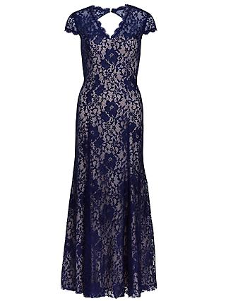 Gina Bacconi Long Lace Dress, Navy