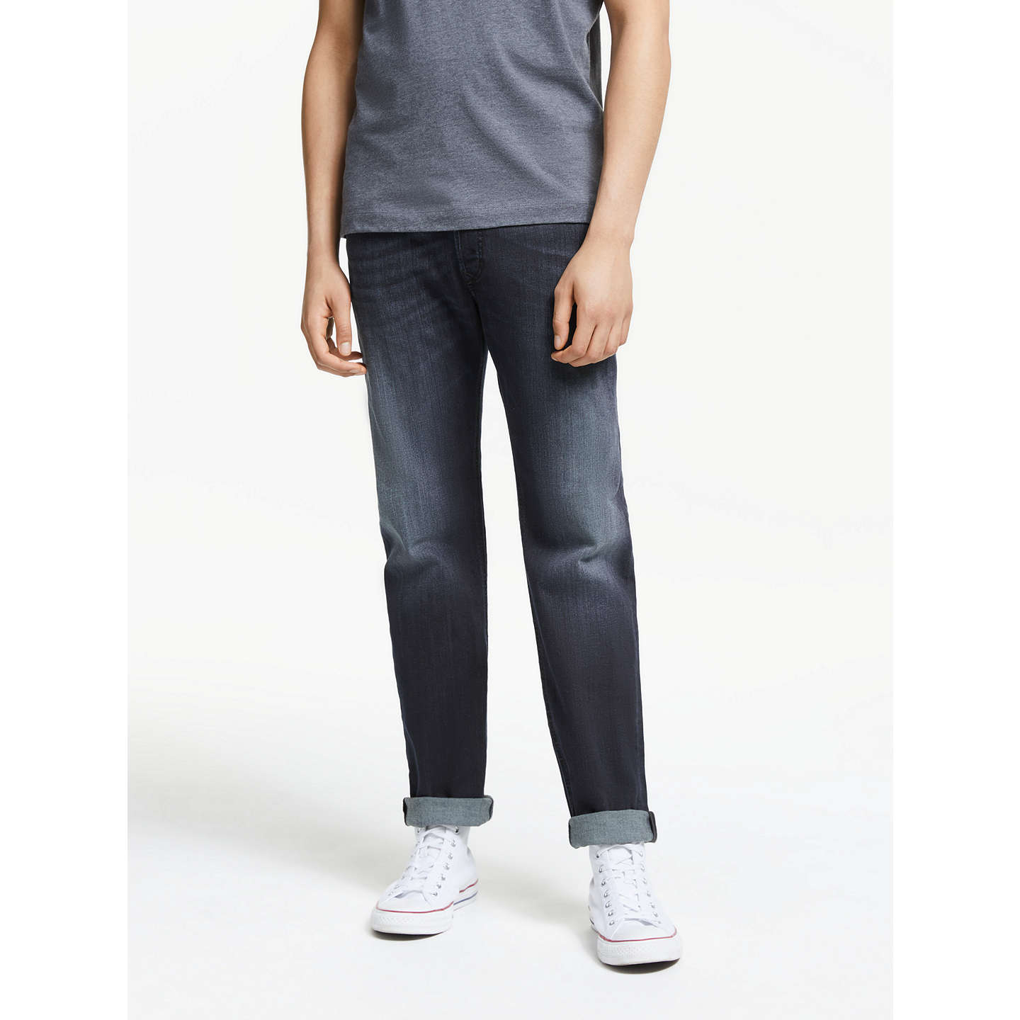 BuyDiesel Waykee Straight Jeans, Mid Wash 0814W, 28S Online at johnlewis.com