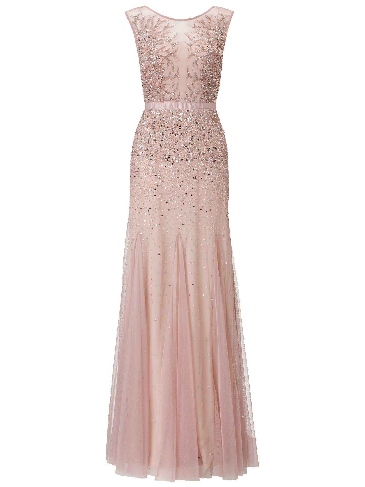 Adrianna Papell Wedding Long Beaded Gown, Blush at John Lewis & Partners