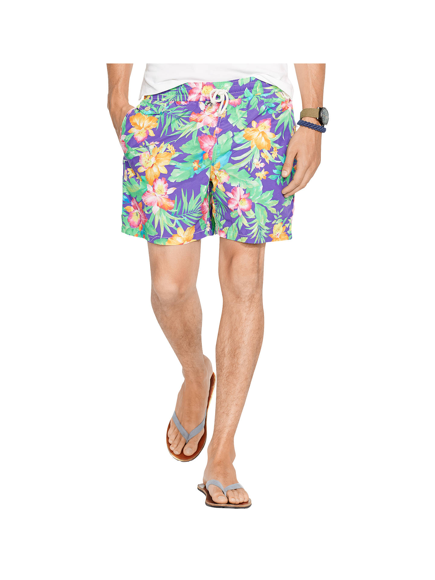 54a82428f5 Buy Polo Ralph Lauren Floral Print Traveller Swim Shorts, Purple Water, S  Online at ...