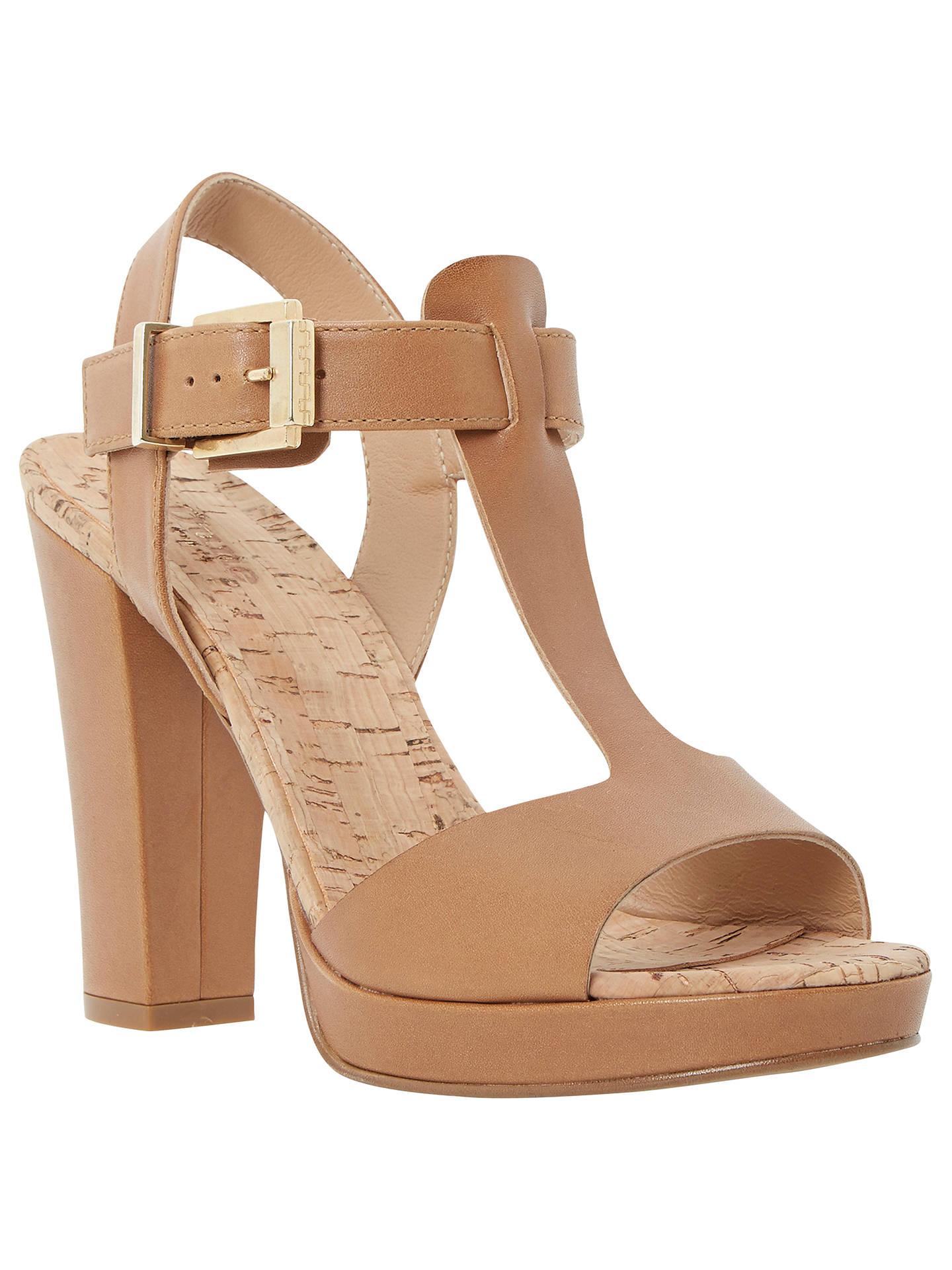 Dune Jasmin Leather T-Bar Block Heel Sandals at John Lewis   Partners