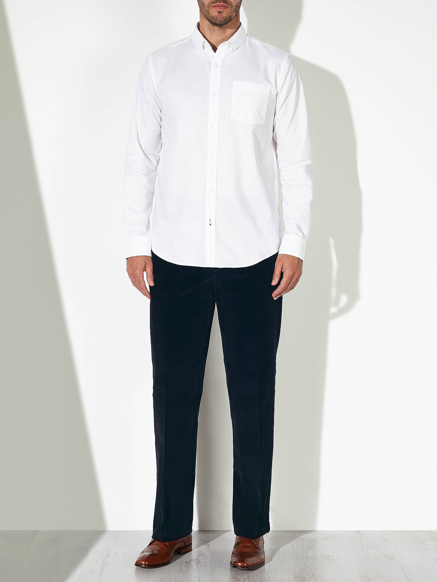 Buy John Lewis Laundered Cotton Corduroy Trousers, Dark Navy, 30R Online at johnlewis.com
