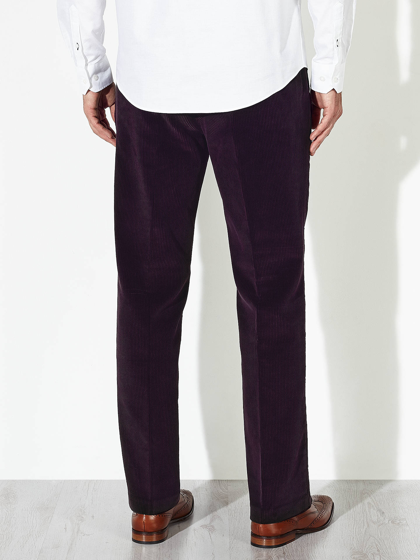 Buy John Lewis Laundered Cotton Corduroy Trousers, Wine, 40R Online at johnlewis.com