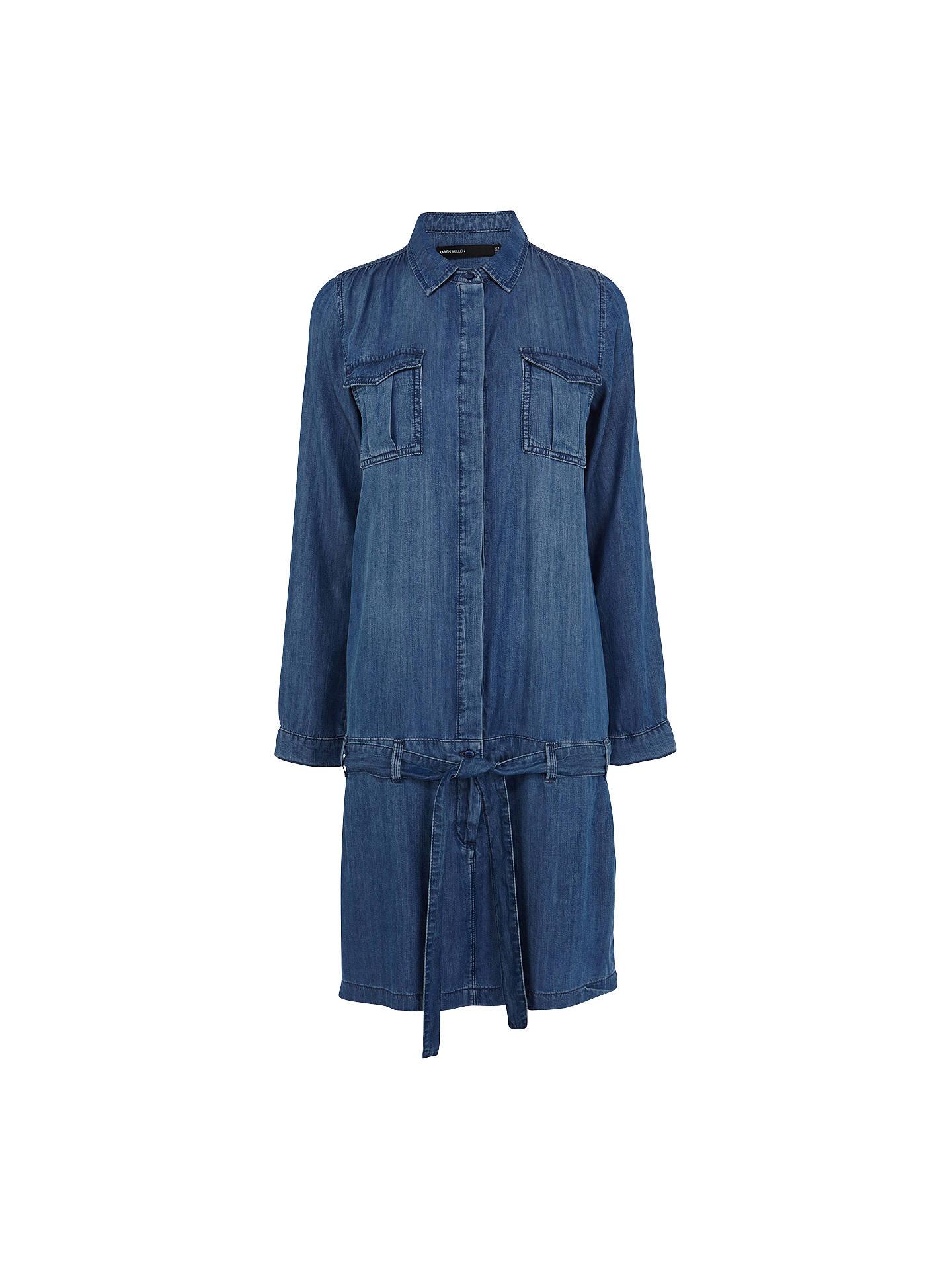 new york good selling get new Karen Millen Soft Denim Shirt Dress, Dark Blue at John Lewis ...