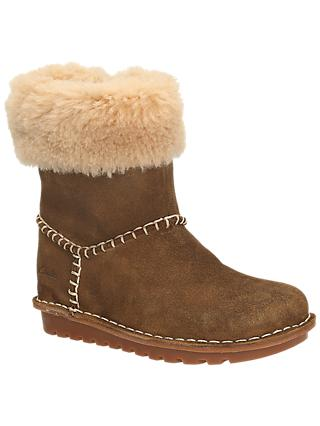 Clarks Children's Greeta Ace Suede Boots, Walnut