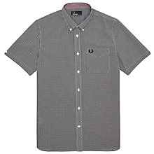 Buy Fred Perry Classic Gingham Short Sleeve Shirt, Black Online at johnlewis.com