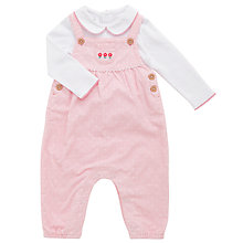 Buy John Lewis Baby's Long Sleeve Polo Shirt and Cord Dungaree Set, Pink Online at johnlewis.com