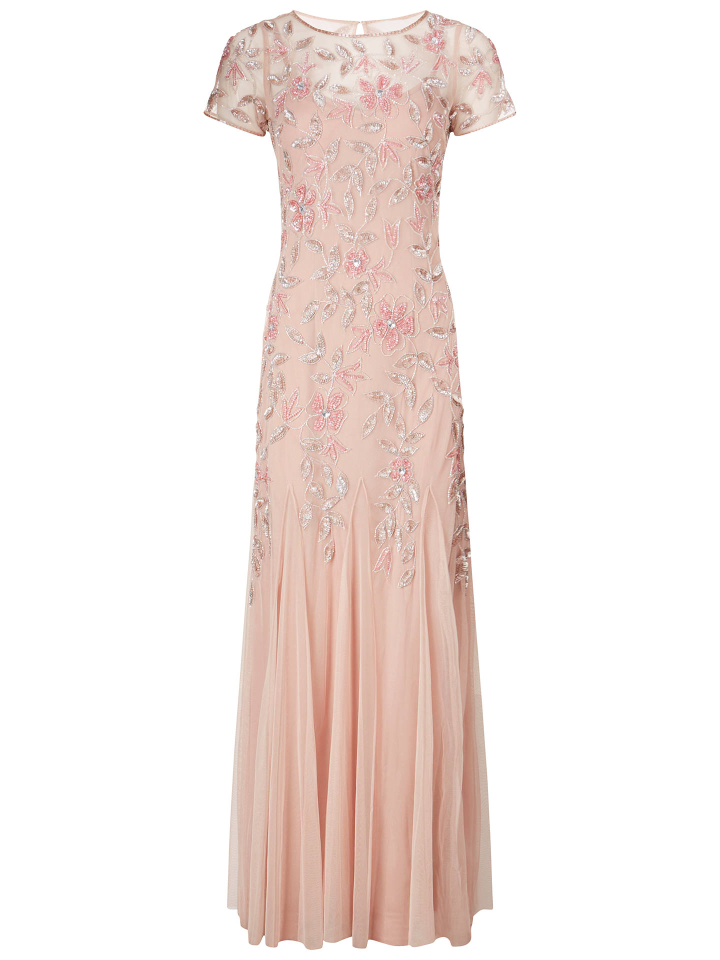 b3ee494167cfd Buy Adrianna Papell Floral Beaded Godet Gown, Blush, 8 Online at  johnlewis.com ...
