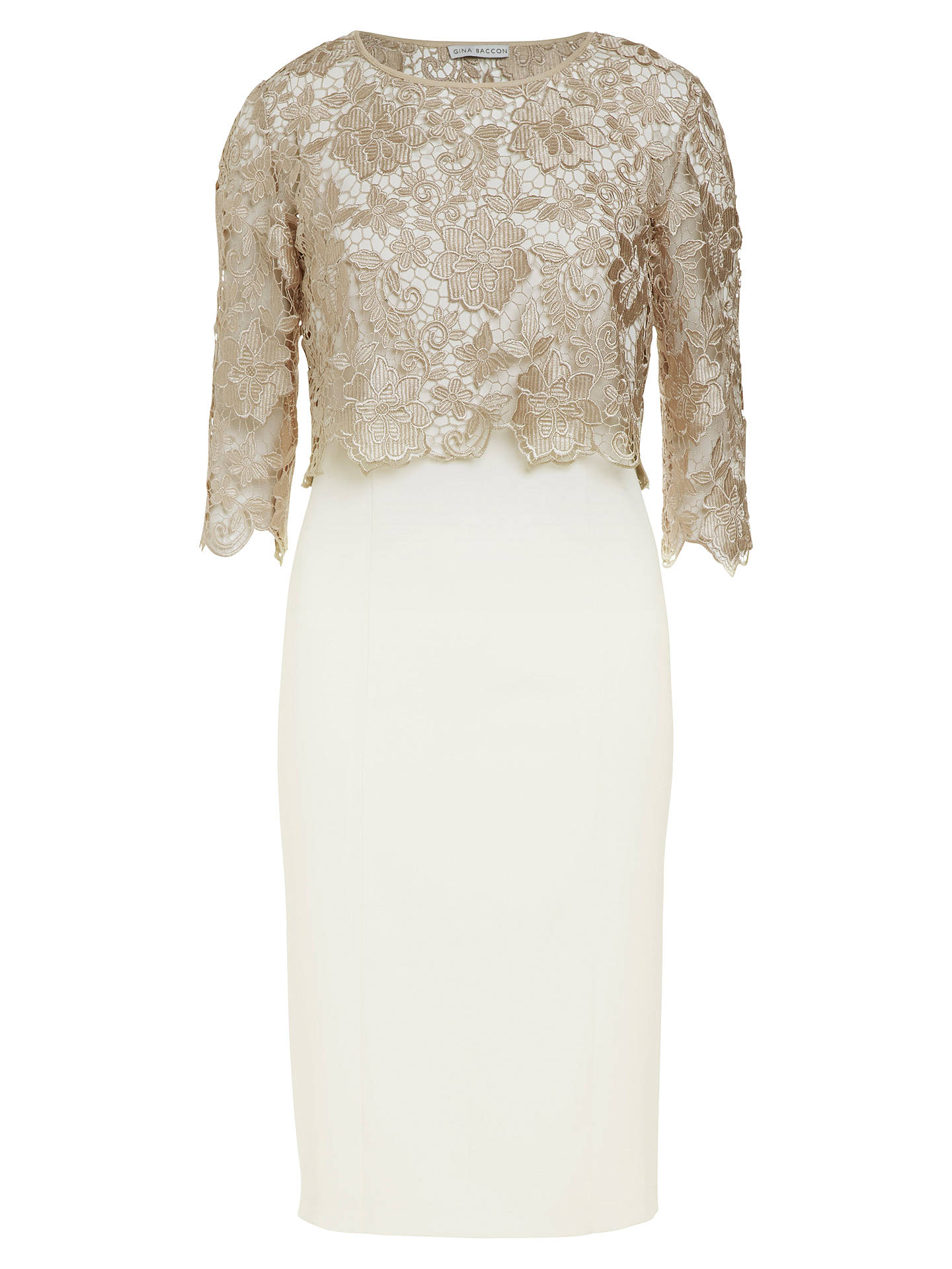 Buy Gina Bacconi Metallic Guipure Top Dress, Almond, 8 Online at johnlewis.com