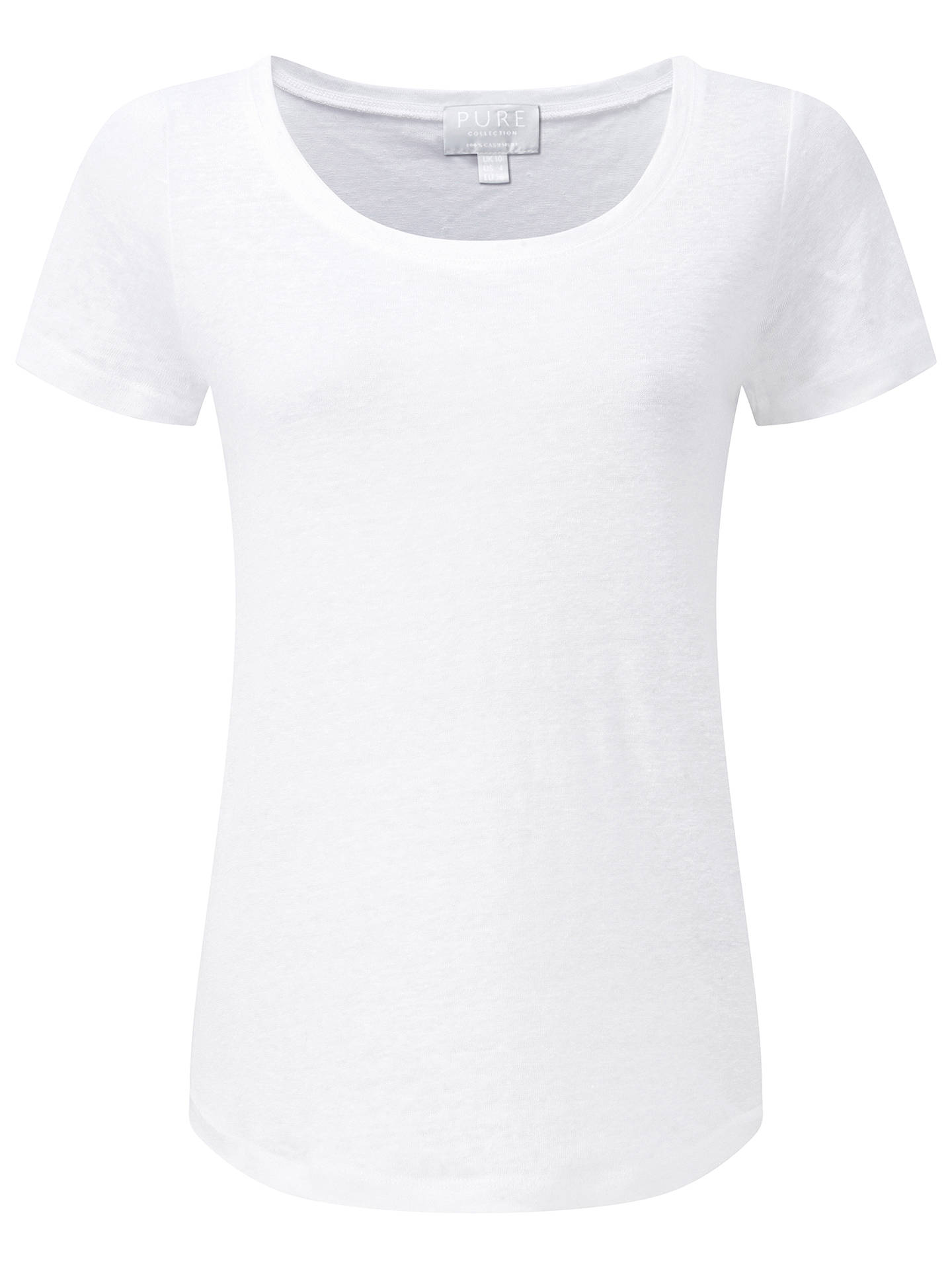 Buy Pure Collection Luxury Linen T-Shirt, White, 12 Online at johnlewis.com