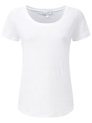 Buy Pure Collection Luxury Linen T-Shirt, White, 18 Online at johnlewis.com