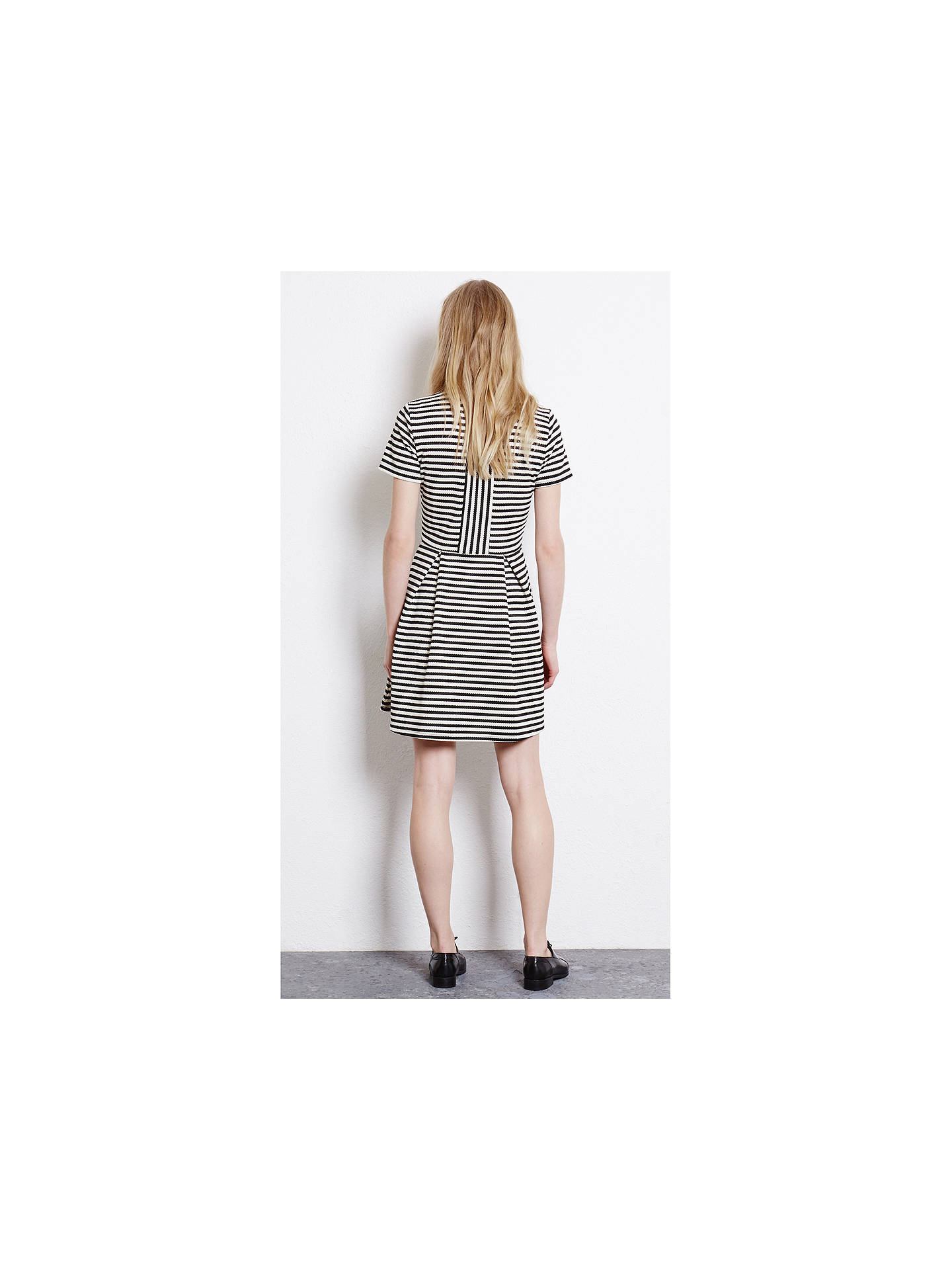 Buy Warehouse Stripe Fit and Flare Dress, Black/White, 6 Online at johnlewis.com