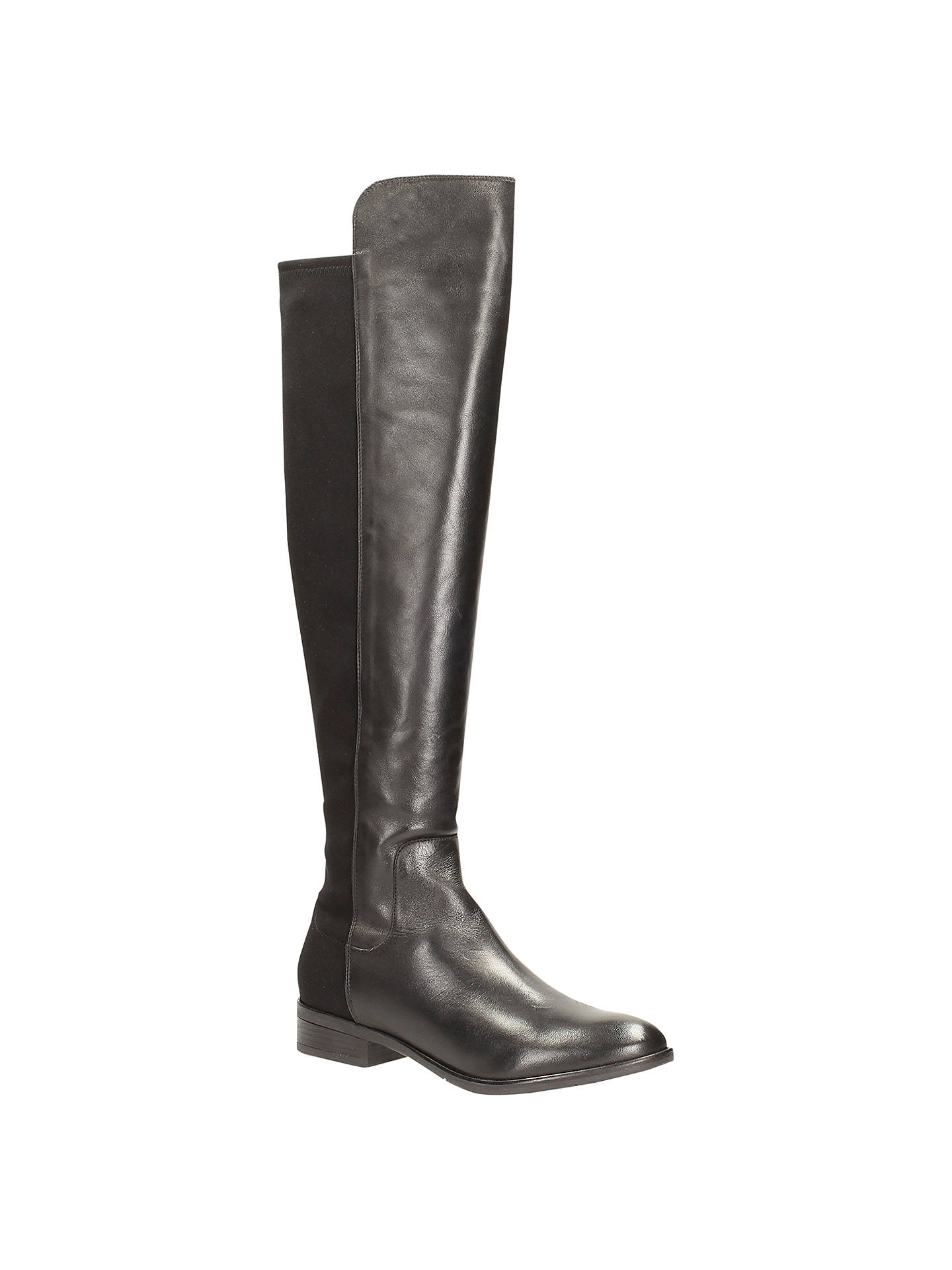 318bbd73017 Clarks Caddy Belle Over The Knee Leather Boots, Black at John Lewis ...