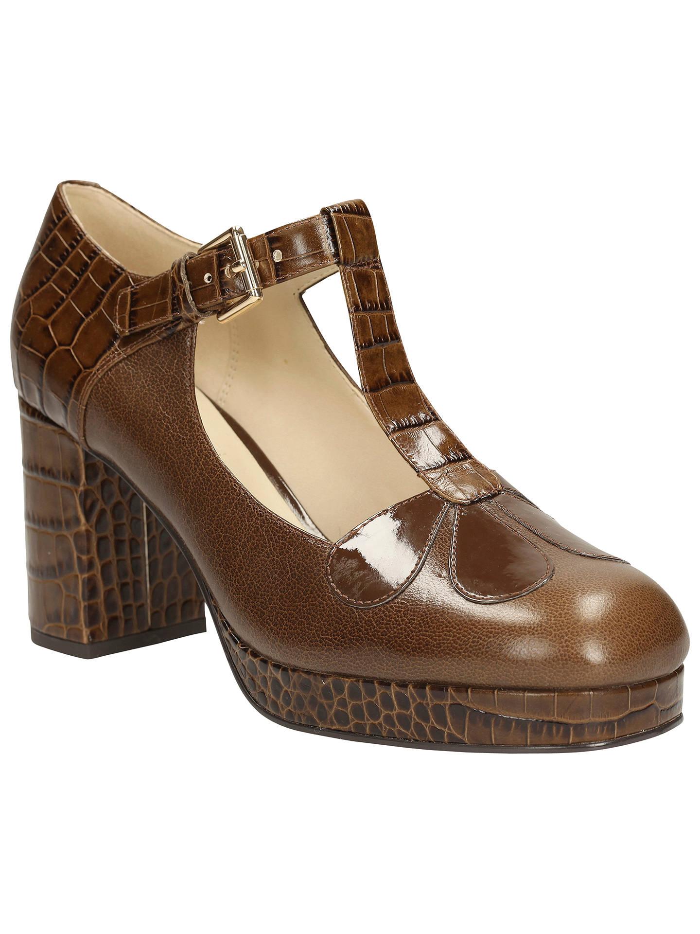 3230af828d Buy Clarks Orla Kiely Abigail Leather T-Bar Platform Shoes, Brown, 4 Online  ...