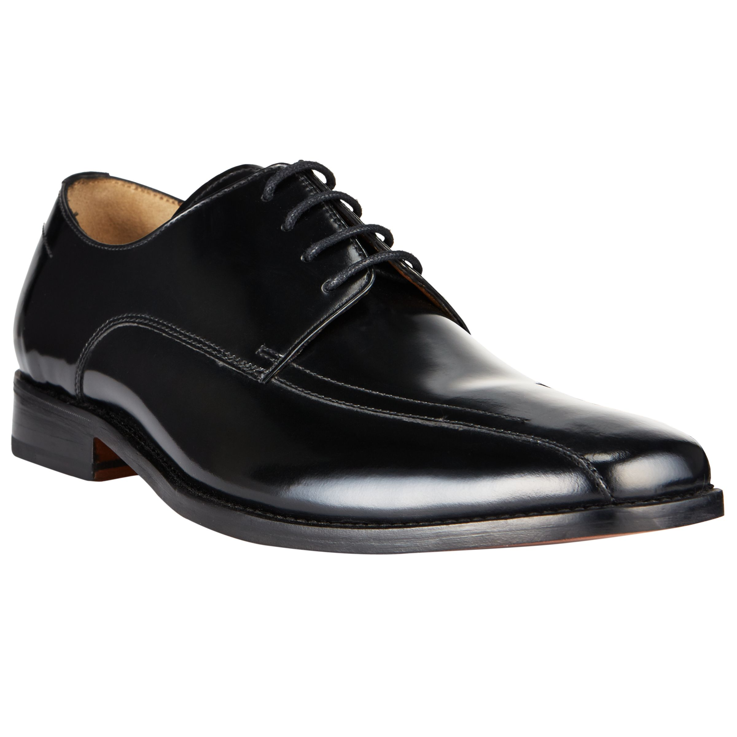0eea0edf0e49 John Lewis Albert Tramline Leather Derby Shoes, Black at John Lewis &  Partners
