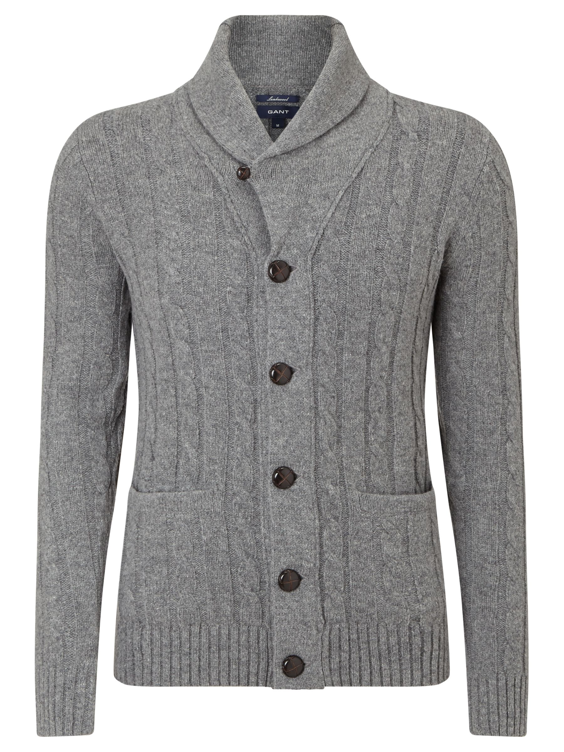 0f1efbf0f09 Gant Lambswool Cable Knit Cardigan at John Lewis & Partners