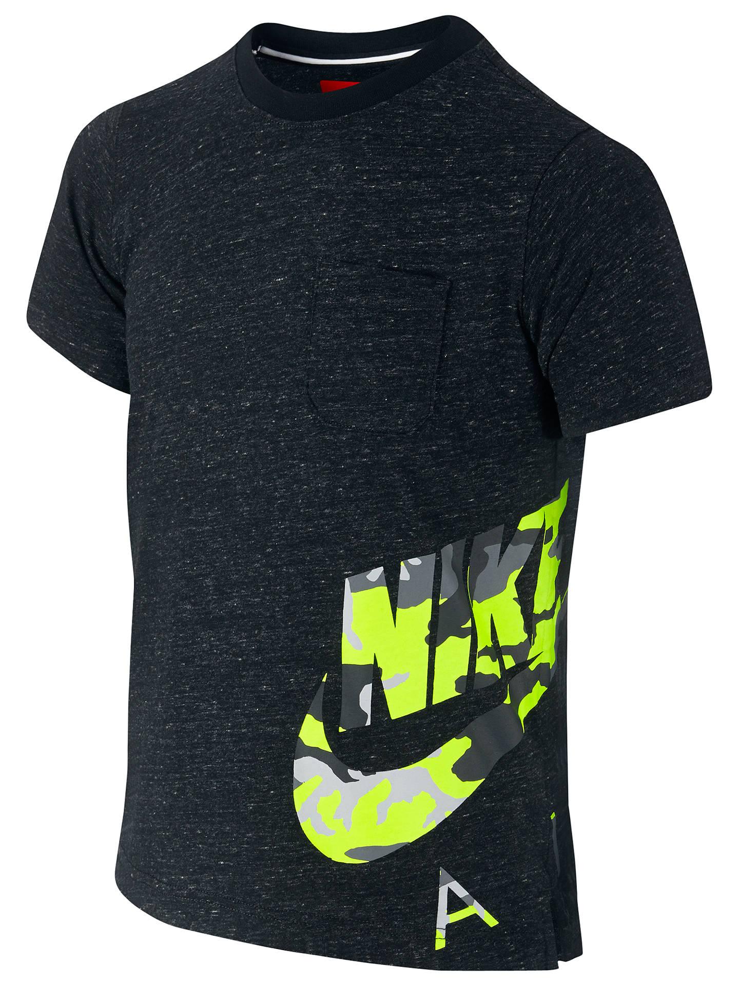 6d8feb2ba Nike Boys' Camo Pocket Short Sleeve T-Shirt | Black at John Lewis ...