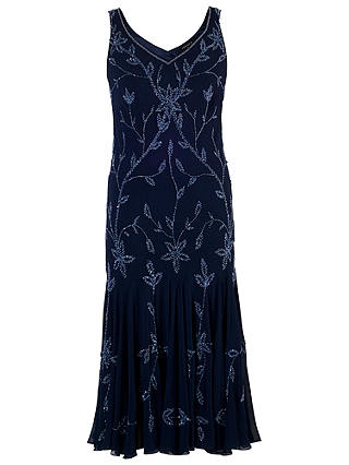 Buy Chesca Allover Bead Dress, Navy/Lilac, 12 Online at johnlewis.com