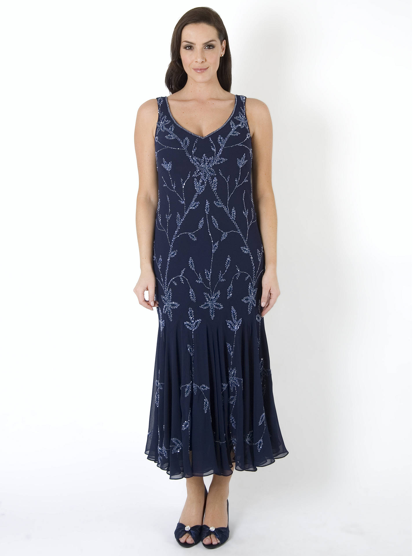 BuyChesca Allover Bead Dress, Navy/Lilac, 12 Online at johnlewis.com