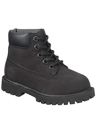 Timberland Children's Waterproof Nubuck Leather Boots, Black