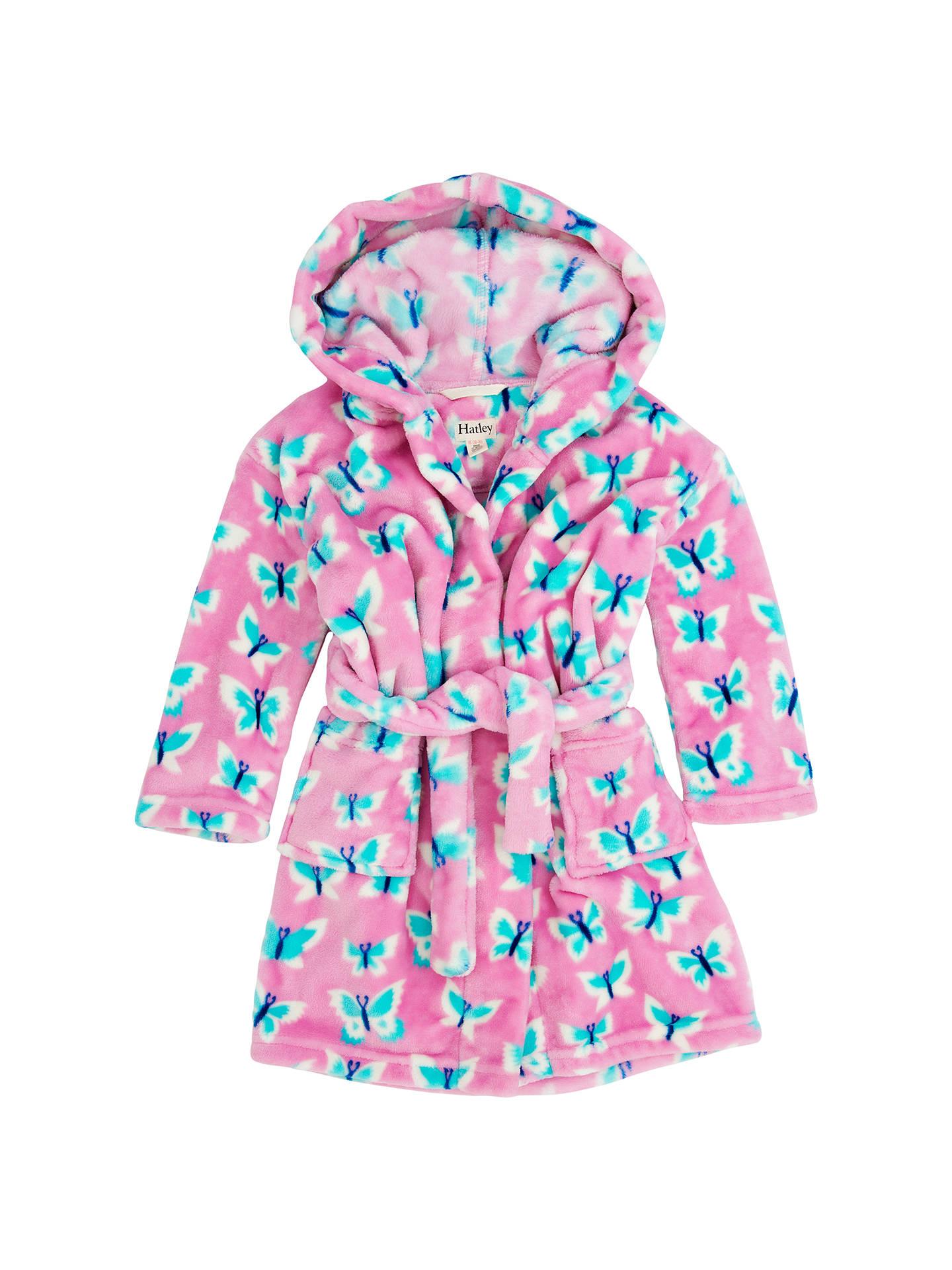 Hatley Girls\' Butterflies Fleece Dressing Gown, Pink at John Lewis ...