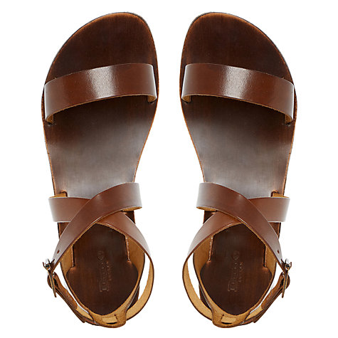Buy Dune Lotti Leather Flat Cross Strap Sandals, Tan Online at johnlewis.com